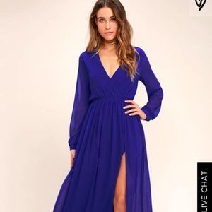 Lulu's wondrous water lilies royal blue maxi dress